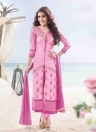 Keep ahead in fashion with this pink cotton satin designer suit. The embroidered and resham work looks chic and perfect for party and festival. Comes with matching bottom and dupatta. Salwar Kameez Online Shopping, Latest Salwar Kameez, Rose Pink Dress, Designer Salwar Suits, Designer Dresses, Indian Sarees Online, Flamboyant, Desi Clothes, Looks Chic