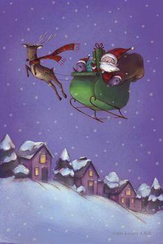 Santa & Reindeer | Illustration by Jennifer A. Bell