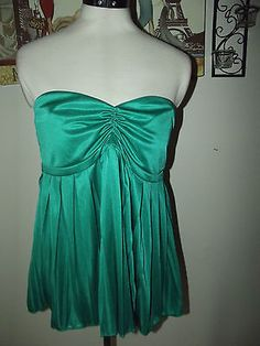 Ruby Sky Strapless Green Top size Large ~ Flared, Pleated ~ Sexy