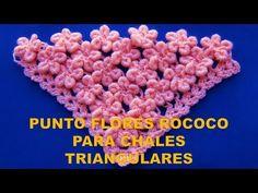 Punto a Crochet para Chales en V: FLORES EN PUNTO ROCOCO paso a paso - YouTube