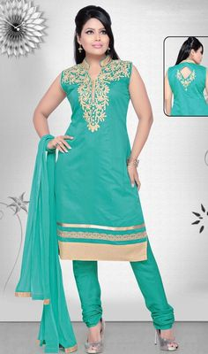 Enchant the mantra of being stylish in this greenish blue chanderi silk embroidered churidar suit. The beautiful lace, resham and stones work a substantial attribute of this attire. #NewTurquiseBlueStraightCutSuit