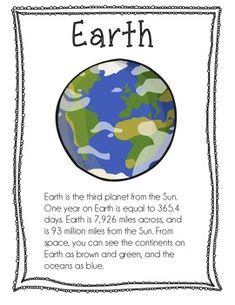 Planet Info Sheets by Liza Gosselin Space Preschool, Preschool Science, Teaching Science, Science For Kids, Earth Science, Preschool Ideas, School Age Activities, Space Activities, Science Activities