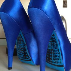 "Doctor Who Dalek Wedding Heels by Miss Fiendish. I love these as ""something blue""! I could match them to the ribbon on my dress!"