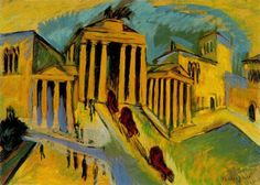 """Ernst Luwdig Kirchner: """"Brandenburger Tor"""", 1915  Ernst Ludwig Kirchner was a German painter and graphic artist and is one of the most important representatives of expressionism. He was a founding member of the artist group """"Brücke"""" (bridge). In 1938 he commited suicide after his work was labelled """"degenerate"""" and forbidden by the Nazis."""