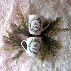 Kubki na slub Wedding Flowers, Hand Painted, Wreaths, Mugs, Tableware, Dinnerware, Door Wreaths, Tumblers, Tablewares