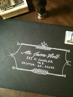 illustration + handwriting on envelope