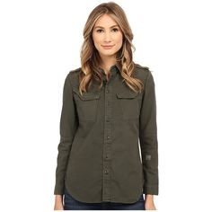 G-Star Rovic Straight Shirt in Compact Skil Overdye Women's Long... ($170) ❤ liked on Polyvore featuring tops, military button up shirt, long sleeve tops, long sleeve shirts, military style shirt and epaulet shirt