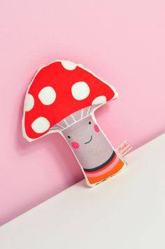 baby rattle mushroom shape in red and gray with happy face  by PinkNounou