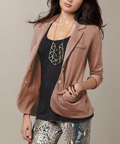 Take a look at this Brown Tokyo Blazer by TART Collections on #zulily today!