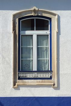 my favorite, blue window with perfect handmade curtains