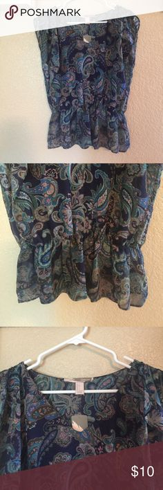 Forever 21 Cap Sleeve Shirt Size Small NWT Forever 21 Cap Sleeve Shirt Size Small New with tag. This beautiful Top is navy, green and mauve with an elastic gathered waist. Size small Forever 21 Tops Blouses