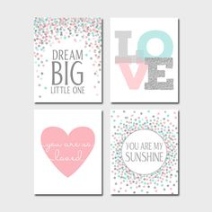 Pink Aqua Silver Nursery Print Baby Girl Nursery Decor You Are My Sunshine You Are So Loved Dream Big Little One Baby Shower Gift Set of 4 by EllenPrintable on Etsy https://www.etsy.com/listing/399604803/pink-aqua-silver-nursery-print-baby-girl