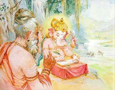 Vysar who narrate the mahabharat and it was written by the great writer vinayaga Shri Ganesh, Ganesha Art, Lord Ganesha, Lord Vishnu, Hare Krishna, Krishna Art, Pagan Gods, Wicca, Spiritual Images