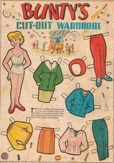 Bunty Comic Book Paper Doll I had a huge collection of bunty cut-out dolls, I kept them in an old shirt box of my dad's, and they all had a name 1970s Childhood, My Childhood Memories, Vintage Paper Dolls, Vintage Children's Books, Paper Dolls Book, Vintage Cards, Baby Girl Toys, Toys For Girls, Comic Book Paper