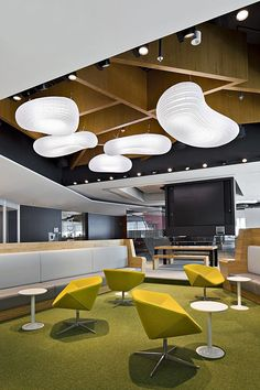 Geyer's Marketing Headquarters Interior Design & Architecture///////Dedicated to deliver superior interior acoustic experince. Office Space Design, Workplace Design, Office Interior Design, Interior Design Inspiration, Design Ideas, Interior Ideas, Corporate Interiors, Office Interiors, Salas Lounge