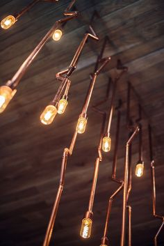 Copper plumbing pipes wired for lighting