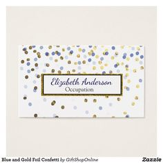 Professional organizer business cards original art business cards blue and gold foil confetti business card colourmoves