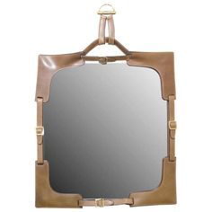 Gucci Leather and Buckled Mirror | From a unique collection of antique and modern wall mirrors at https://www.1stdibs.com/furniture/mirrors/wall-mirrors/