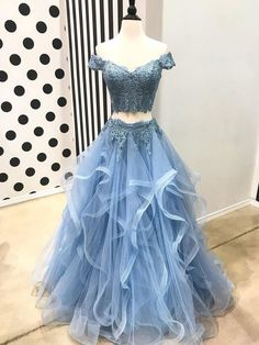 Off the Shoulder Two Piece Prom Dresses,Lace 2 Piece Formal Dresses APD3195 $189.99 Blue Lace Prom Dress, Blue Evening Dresses, Formal Dresses, Mermaid Evening Dresses, Prom Dresses Blue, Senior Prom Dresses, Best Prom Dresses, Cheap Prom Dresses, Crop Top Dress