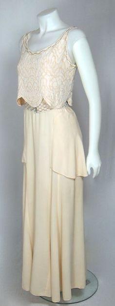 Peplum skirt/ maxi dress/ 1930's scallop