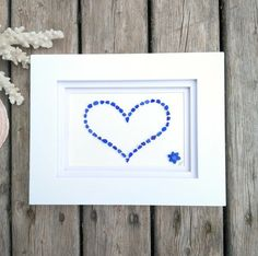 Cobalt Sea Glass Heart + Flower Accent | Sea Glass Art | Beach Art | Sea Glass Heart | Nautical Decor | Coastal Style | Beach Heart Decor by RedIslandSeaGlass on Etsy Sea Glass Colors, Sea Glass Art, Glass Photo, Sea Glass Necklace, Heart Decorations, Frame Crafts, Beach Art, Coastal Style, Heart Flower