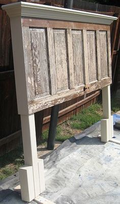 Wood Door to Headboard - 90 year old door made into a headboard to fit both a king size and queen size bed, bedroom ideas, painted furniture, shabby chic, Ready for Customer pickup Repurposed Furniture, Shabby Chic Furniture, Painted Furniture, Repurposed Shutters, Salvaged Doors, Rustic Furniture, Furniture Projects, Furniture Makeover, Diy Furniture