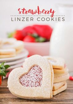 These beautiful and delicious strawberry linzer cookies are simple to make, and perfect for sharing with those you love! Crisco Cookies, Linzer Cookies, Cupcake Cookies, Yummy Cookies, Pie Dessert, Cookie Desserts, Just Desserts, Cookie Recipes, Cookie Ideas