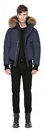 Mackage Florian Jacket in Navy. Down-filled jacket with a removable fur-lined hood. The jacket features a two-way zip closure with snap-down concealment placket and signature leather snap placket. Leather-trimmed zippered breast pocket. Angled zip pockets and snap-down flap pockets at front....  More details at https://jackets-lovers.bestselleroutlets.com/mens-jackets-coats/active-performance/insulated/product-review-for-mackage-florian-jacket-in-navy/