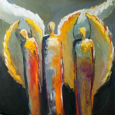 """""""Supernatural"""" by Shelby McQuilkin abstract figurative, colorful, spiritual, angels, supernatural, contemporary art"""
