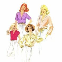 Front Buttoned Blouses Womens 1980s McCalls 6367 by patternshop
