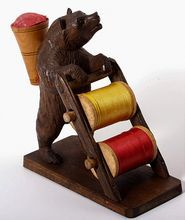 Hand Carved Antique Black Forest Bear Sewing Caddy, Thread Spools & Pin Cushion.