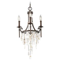 Vintage Inspired Mini-Chandelier Light with Cascading Crystal Beading…