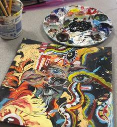 Acrylic painting in canvas Art Sketches, Art Drawings, Guache, Hippie Art, A Level Art, Art Hoe, Ap Art, Psychedelic Art, Pretty Art