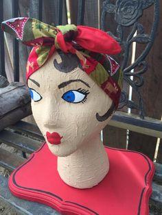 Christmas bow vintage inspired dolly bow bandana headband pinup rockabilly