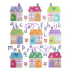 """Village Sampler (CSKV140)  Sampler cross stitch kit designed by The Stitching Shed.  Contents: 14 count aida fabric, anchor threads, chart and full instructions.  Size: 6.5"""" x 7.5"""".  RRP £17.50  *Usually dispatched within 5 working days*"""
