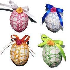 Crochet Easter Egg Cover, Set of 4 Hand Crocheted Easter Eggs Easter Decoration With Satin Ribbon Ombrè Colors