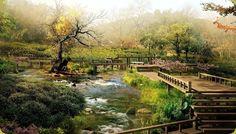 I giardini giapponesi sono contraddistinti da pochi elementi naturali.