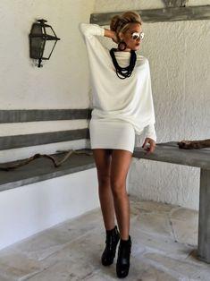 Ivory Women Top / Asymmetric Tunic / Oversize Tunic / Mini Dress / Plus Size Tunic / Plus Size Blouse / Dress Tunic / Tunic Top Plus Size Blouses, Plus Size Dresses, Kaftan, Couture, Sexy Older Women, Bodycon Fashion, Blouse Dress, Handmade Clothes, Elegant