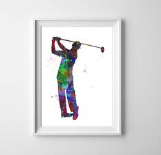Golf player watercolor art - Golfer printable, Sport poster, Painting Original, Gift for men, Boys wall decor, Instant download art, Giclee