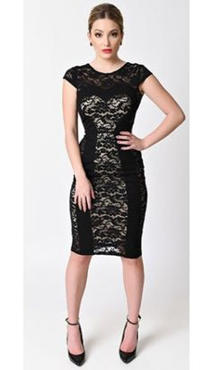 Unique Vintage Black Dolce Stretch Lace Wiggle Dress