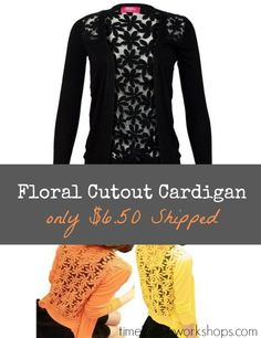 Floral Cutout Cardigan only $6.48 Shipped!