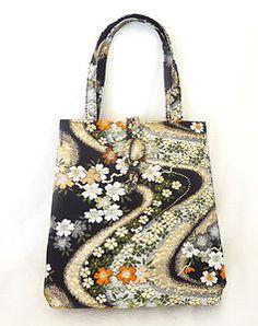Vintage Asian Brocade Fabric Handbag Small Tote Metallic Floral Print Purse | eBay