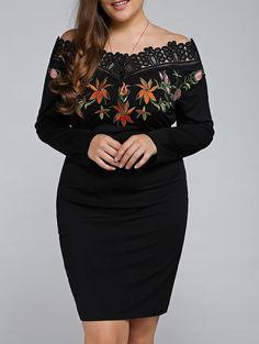 $10.13Off The Shoulder Embroidered Plus Size Mini Dress in Black | Sammydress.com