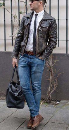 stylish weekend // urban men // leather jacket // city life // gym bag // denim // boys // menswear //