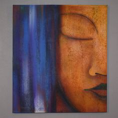 This remarkable oil painting on canvas shows exceptional use of color, detail and brush strokes. Depicting Buddha's serene face, this piece of original art will make a gorgeous addition to any room.