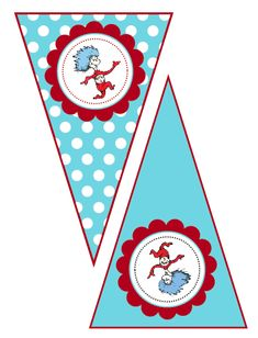 for a baby shower I'll be baking for ;-) Dr. Seuss Cat in the Hat Thing 1 Thing 2- Printable Banner Pennants