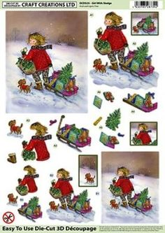 Craft Creations die cut decoupage - Girl on Sledge, Christmas Christmas Sheets, Christmas Topper, 3d Christmas, Christmas Decoupage, Christmas Paper Crafts, Crafts To Do, Hobbies And Crafts, Birthday Photo Frame, Image 3d