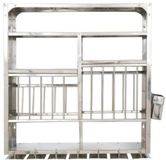 Stainless Steel Wall-Mounted Dish Rack These racks are fixed in kitchens for organizing kitchenware.