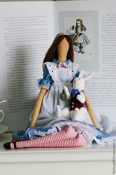 Купить Алиса - голубой, алиса, алиса в стране чудес, текстильная кукла, тильда, кукла Тильда
