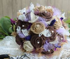 Burlap and Lace Shabby Chic Wedding Bouquets with Purple, Lavendar, and Plum by GypsyFarmGirl,